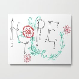Hope doodle with flowers Metal Print