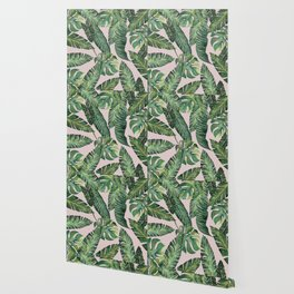 Jungle Leaves, Banana, Monstera Pink #society6 Wallpaper