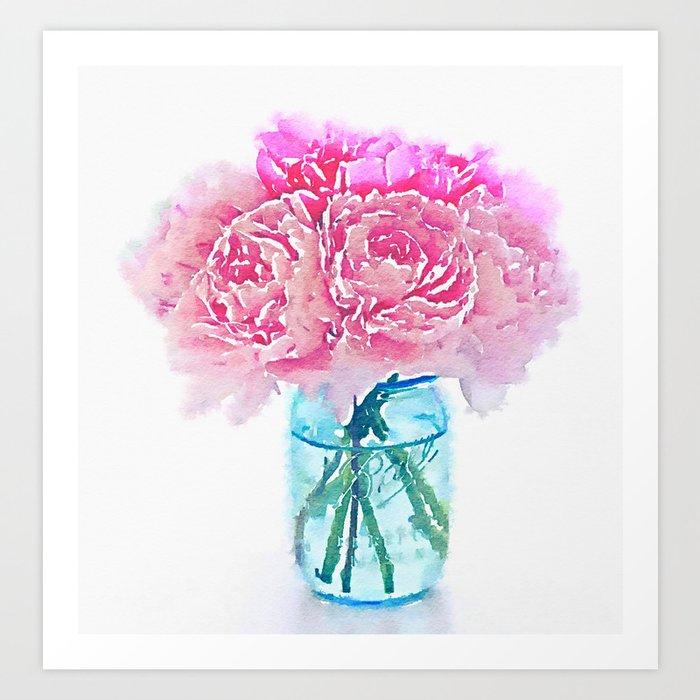 Watercolor pink peonies flowers in vase print art print by watercolor pink peonies flowers in vase print art print mightylinksfo