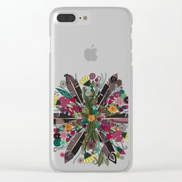 bohemian posy blue Clear iPhone Case