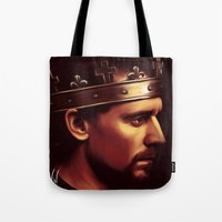 tom hiddleston Tote Bags featuring Henry V - Tom Hiddleston 'Hollow Crown' by Wisp Wool