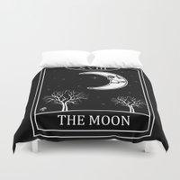 tarot Duvet Covers featuring The Moon Tarot Card by Natasha Sines