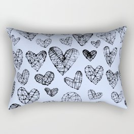 Wire Hearts in Soft Blue Rectangular Pillow