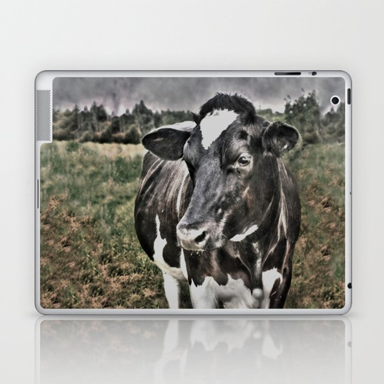 Melancholic Black White Dutch Cow Laptop & iPad Skin