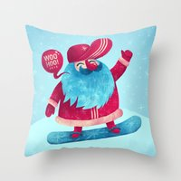 snowboard Throw Pillows featuring Snowboard Santa by Lime