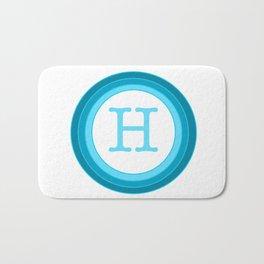 Blue letter H Bath Mat