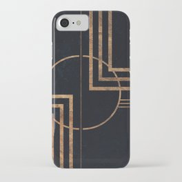 Art Deco Navy And Gold Geometric Print iPhone Case