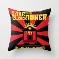 propaganda Throw Pillows featuring Clocktower Propaganda by DGN Graphix