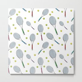 Tennis pattern. Hand-drawn colored sketch style tennis racquet with yellow tennis balls on white bac Metal Print