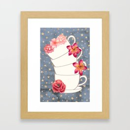 Floral Coffee Cups Framed Art Print