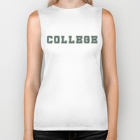 college Biker Tanks featuring College by Andrés Naudín