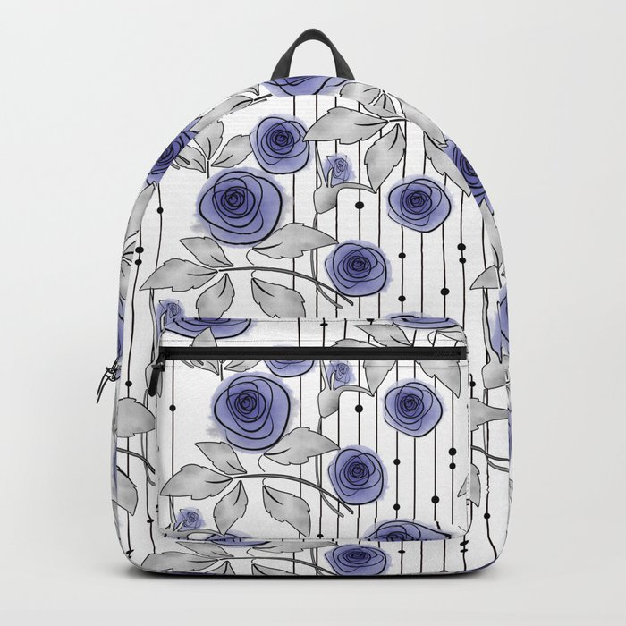 Blue Roses on striped background. Backpack