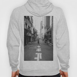 Walking the Streets of Tokyo - Black and White Film Photograph Hoody