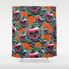 Cute Skull Apple Shower Curtain