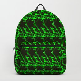 Braided geometric pattern of wire and dark arrows on a blue background. Backpack