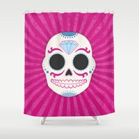 sugar skull Shower Curtains featuring Sugar Skull by Illustration by Julia