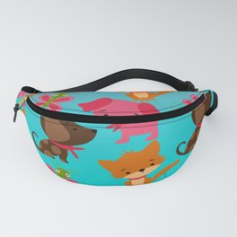 Kitty and Puppy Pattern Fanny Pack