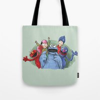 cookie monster Tote Bags featuring cookie monster by ErsanYagiz