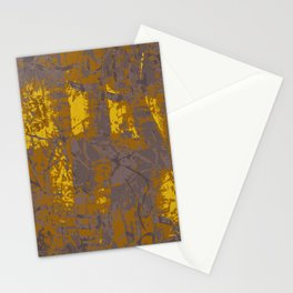 Kassandra, abstract painting yellow on kaki Stationery Cards