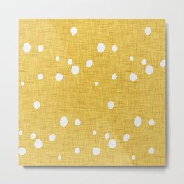 Modern Farm House Polka Dots Mustard Metal Print