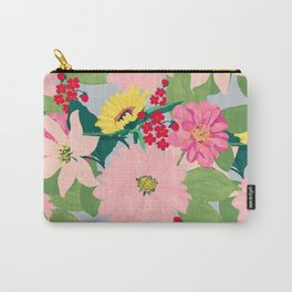 Elegant Watercolor Sunflowers Blush Floral Gray Design Carry-All Pouch