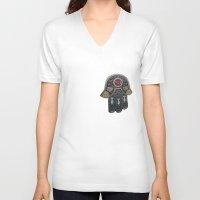 jewish V-neck T-shirts featuring Jewish Hamsa by Debra Slonim Art & Design