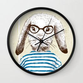 Hipster Rabit with Style Wall Clock