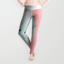 Keytar Platypus Venn Diagram Gray Blue Pink Leggings
