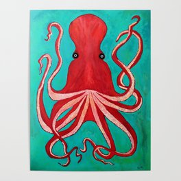 A big red octopus; sea creatures Poster
