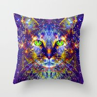 "mercedes Throw Pillows featuring ""Feed Me Can Food."" - Sir Parker by Sir P & Lady J"