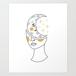 Crescent Moon Girl Art Print