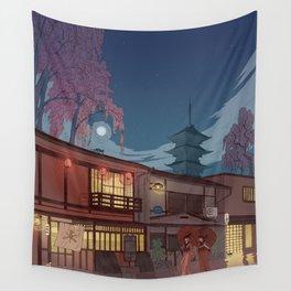 Kyoto at night Wall Tapestry