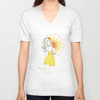 pin up V-neck T-shirts featuring Pin-Up  by Susana Carvalhinhos