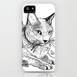 Cat and acacias iPhone Case