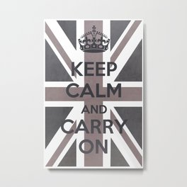 Keep Calm and Carry On UK - Purple/Grey Metal Print
