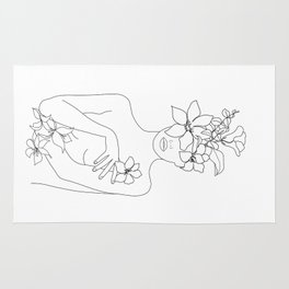 Minimal Line Art Woman with Flowers IV Rug