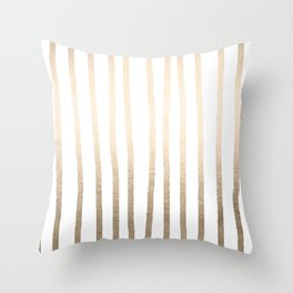 Simply Drawn Vertical Stripes in White Gold Sands Throw Pillow