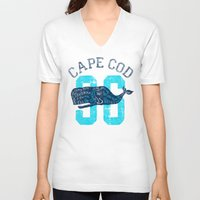 cape cod V-neck T-shirts featuring Cape Cod Whale by Rob Howell