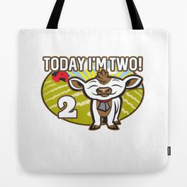 Kid's 2nd Birthday Today I'm Two! Cute Cow Tote Bag