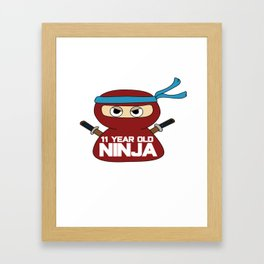 Birthday Ninja Party Samurai Ninjas Gift Japanese Ninja stars Fighter Gift 11th Framed Art Print