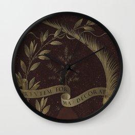 "Leonardo Da Vinci ""Wreath of Laurel, Palm, and Juniper with a Scroll inscribed Virtutem Forma Decor"" Wall Clock"