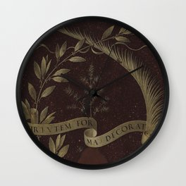 "Leonardo Da Vinci ""Wreath of Laurel, Palm, and Juniper with a Scroll inscribed Virtutem Forma Decor"" Wall Clock"