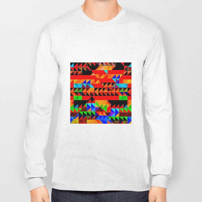 Aztec Pyramid Inspired Design Long Sleeve T-shirt