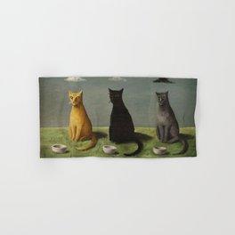 Three Cats with Clouds That Follow Them Everywhere by Gertrude Abercrombie Hand & Bath Towel