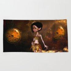 Steampunk, cute little steampunk girl Beach Towel