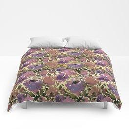 Botanical lavender purple ivory brown floral Comforters