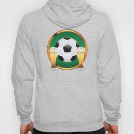 Two beer glasses and soccer ball in green circle Hoody