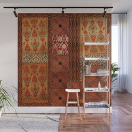 Vintage textile patches Wall Mural
