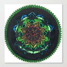 Green mandala pattern Canvas Print