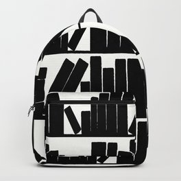 Library Book Shelves, black and white Backpack